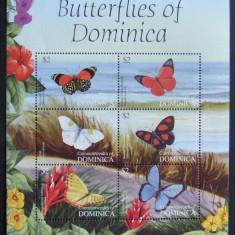 DOMINICA - FLUTURI  6 VALORI IN M/SH, NEOBLITERATA - E0680