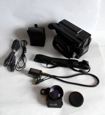Aparat de filmat, video camera recorder AIWA CV-50 + geanta si accesorii, vintag foto