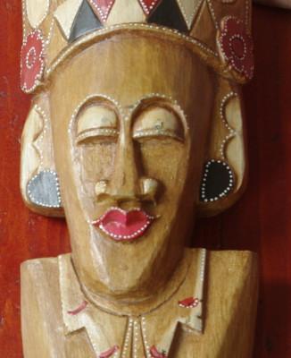 Sculptura - Masca tip bust realizata din lemn - model deosebit !!! foto