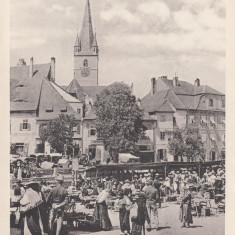 SIBIU-PIATA, KLEINER RING (OBSTMARKT) - Carte Postala Transilvania dupa 1918, Necirculata, Printata