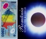 2000 lei 1999 SERII CONSECUTIVE eclipsa in pliant si plic BNR seria RARA 001A