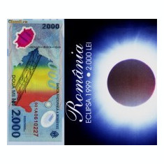 2000 lei 1999 SERII CONSECUTIVE eclipsa in pliant BNR s.001A, UNC, NECIRCULATE - Bancnota romaneasca