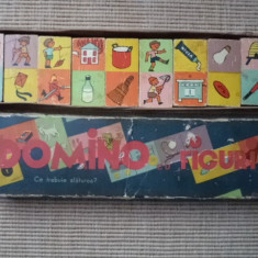 Domino cu figuri in cutie joc vechi romanesc perioada comunista anii 70 hobby - Joc board game