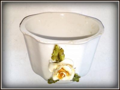 Suport vintage portelan  pentru candela cu motiv floral - Italia foto