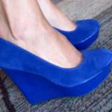 Platforme albastre noi - Pantof dama, Culoare: Albastru, Marime: 40