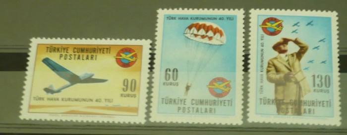 TURCIA 1965 – AVIATIE SI PARASUTISM SPORTIV, serie MNH P169