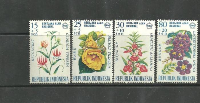 INDONEZIA 1956 – FLORI DE GRADINA, serie nestampilata cu SARNIERA U15