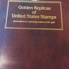 Album FDC cu 54 de replici de timbre americane pe foita de aur, America de Nord
