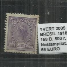 BRAZILIA - 1918 -19 - 158 B . 500R., Nestampilat