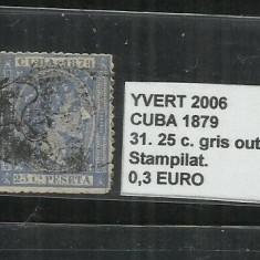 CUBA 1879 - 31. 25 C., Stampilat