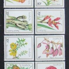 RWANDA - FLORI  8 VALORI, NEOBLITERATE - RW 075