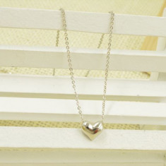Pandantiv / Colier / Lantisor Fashion - Inima -  Argintiu