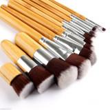 Set 11 Pensule Machiaj / Make Up -  Maner Bambus - Profesionale