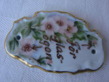 Frumoasa placheta din portelan pictata manual cu motive florale (2), Decorative