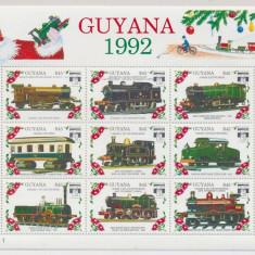 Guyana 1992 locomotive - bloc nestampilat MNH - Timbre straine