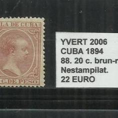 CUBA 1894 - 88. 20 C., Nestampilat
