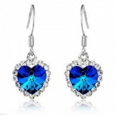 Cercei Fashion - MOdel Inima Cu Cristal, Strasuri, Culoare Albastru