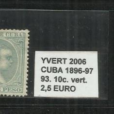 CUBA 1896 - 97 - 93. 10 C., Nestampilat