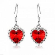 Cercei Fashion - MOdel Inima Cu Cristal, Strasuri, Culoare Rosu