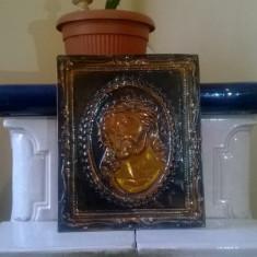 ICOANA RUSEASCA PE TABLA DIN CUPRU POSTATA PE CARTON PORTRET ISUS CRISTOS - Icoana din metal