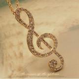 Pandantiv / Colier / Lantisor Fashion - Nota Muzicala Cu Strasuri - Argintiu - Pandantiv fashion