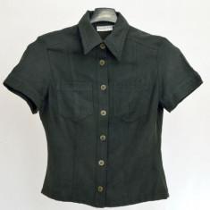 Camasa dama H&M, neagra, maneca scurta, Marime: 34, Culoare: Negru, Casual, Poliester
