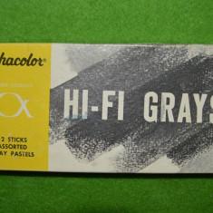 HI-FI Grays (creta vintage grayscale), 12 bucati, nuante de gri, Alphacolor,