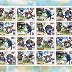 ANGOLA 2011 WWF MAIMUTE - NEDANTELATA - Timbre straine, Nestampilat