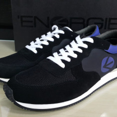 Adidasi sport originali ENERGIE-adidasi barbati-piele naturala-in cutie-44, 45, Culoare: Negru