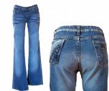 Blugi dama - elastici- evazati- talie inalta - COOCKER's W25,26,27,28 (F1-F10), 25, Lungi, Albastru