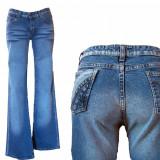 Blugi dama - elastici- evazati- talie inalta - COOCKER's W25, 26, 27, 28 (F1-F10), Culoare: Albastru, Lungi