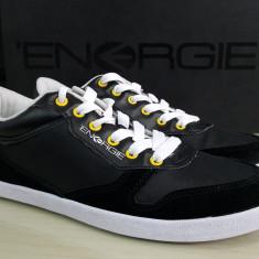 Adidasi sport originali ENERGIE-adidasi barbati-piele naturala-in cutie-39, Culoare: Negru