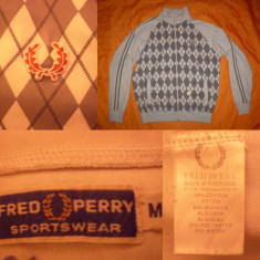 Bluza  FRED PERRY carouri  original ultras casual sport trening - M - negru