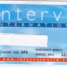 Pentru colectionari, card plastic membru Interval International