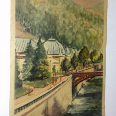 Carte postala, circulata - RPR - Herculane, Pavilionul bailor - Carte Postala Oltenia dupa 1918, Printata
