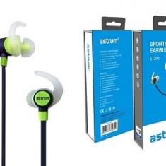 Astrum Headset Sport cu Microfon ET240 Bluetooth, Casti In Ear, Cu fir, Mufa 3, 5mm, Active Noise Cancelling