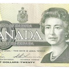 CANADA 20 DOLLARS DOLARI 1991 XF - bancnota america