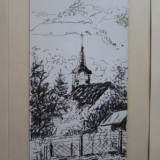 Bede Istvan, Biserica la tara, tablou in miniatura - Pictor roman, Peisaje, Cerneala, Altul