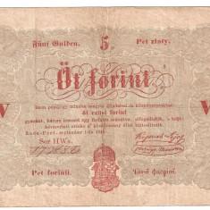 UNGARIA 5 FORINT 1848 VF - bancnota europa