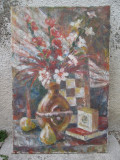 Natura statica - flori in vaza si pere , ulei pe panza