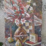 Natura statica - flori in vaza si pere, ulei pe panza - Pictor roman, Impresionism