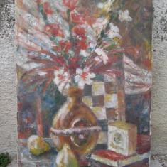 Natura statica - flori in vaza si pere , ulei pe panza, Impresionism