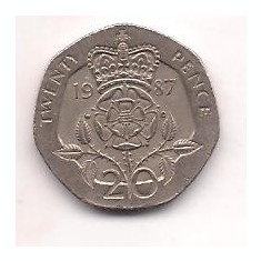 No(5) moneda- ANGLIA-20 Pence 1987, Europa