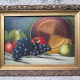 Natura statica, fructe, struguri si mere, ulei pe carton, tablou vechi - Pictor roman, Peisaje, Impresionism
