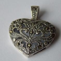 Pandantiv argint inima cu marcasite - 305