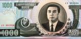 Bancnota 1000 won - COREEA de NORD, anul 2002 * Cod 812  --- UNC