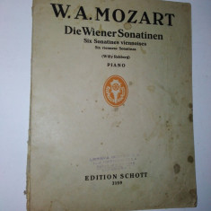 Partitura veche - W. A. Mozart -Wiener Sonatinen