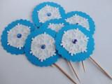 Topper albastru pentru petrecere - briose/dulciuri/alimente - tema iarna/Craciun