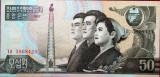 Bancnota 50 won - COREEA de NORD, anul 1992 * Cod 814  --- UNC
