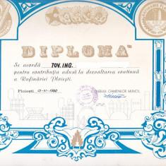 Bnk div Diploma Rafinaria Ploiesti 1980 - Diploma/Certificat